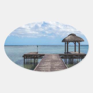 Adesivo Oval Cais no flac flic Maurícia do en do oceano