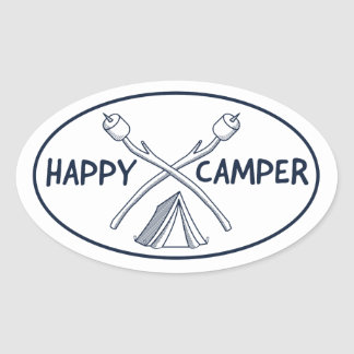 Adesivo Oval Campista feliz - Monochrome