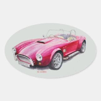 Adesivo Oval Carro de esportes clássico vermelho da cobra da