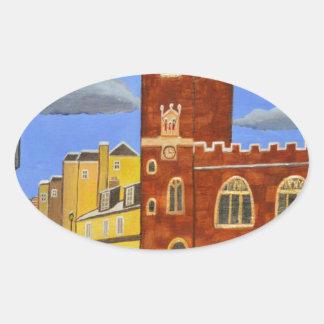 Adesivo Oval Casa de Tudor em Exeter