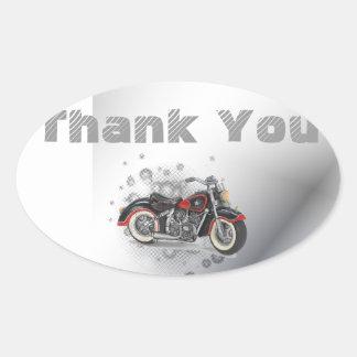 Adesivo Oval Casamento rústico do motociclista de Motorcyle do