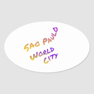 Adesivo Oval Cidade do mundo de Sao Paulo, arte colorida do