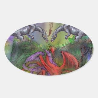 Adesivo Oval Cinza preto vermelho de Dreamcatcher do Pentagram
