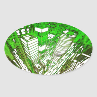 Adesivo Oval city em 3 point version perspective special green