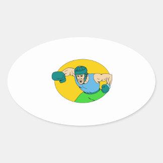 Adesivo Oval Desenho amador do perfurador de KO do pugilista