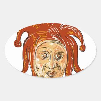 Adesivo Oval Desenho da cabeça do bobo da corte da corte