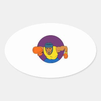 Adesivo Oval Desenho de perfuração do círculo do pugilista