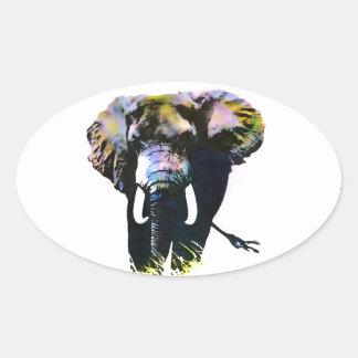 Adesivo Oval Elefante do pop art