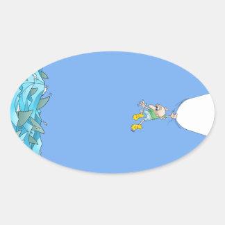 Adesivo Oval Ilustração dos desenhos animados de um homem que