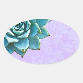 Adesivo Oval Laço da lavanda da aguarela do Succulent