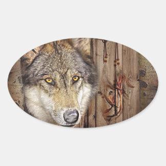 Adesivo Oval Lobo ideal ocidental do indiano do nativo