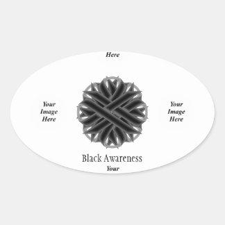 Adesivo Oval Modelo preto da fita da flor