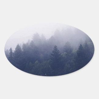 Adesivo Oval Névoa da floresta