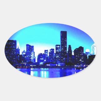 Adesivo Oval Nova Iorque azul