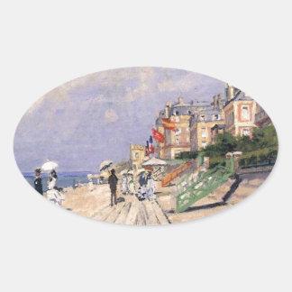 Adesivo Oval O passeio à beira mar em Trouville Claude Monet