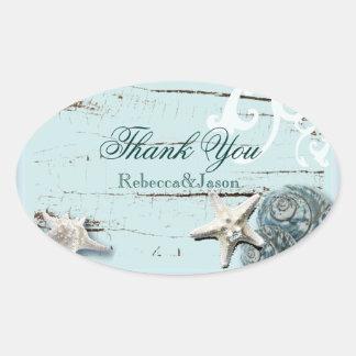 Adesivo Oval Obrigado azul do casamento de praia dos Seashells