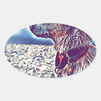 Adesivo Oval Opal o vagabundo Heeler da praia