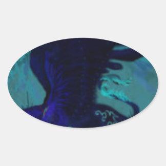 Adesivo Oval Pantera preta voada
