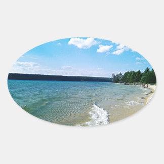 Adesivo Oval Praia escondida