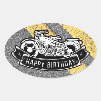 Adesivo Oval Presente feliz & favor da festa de aniversário do