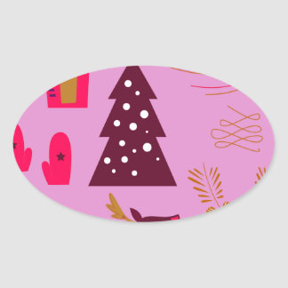 Adesivo Oval Rosa do marshmallow do design do Xmas