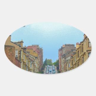 Adesivo Oval Rua de Gardner a mais íngreme em Glasgow