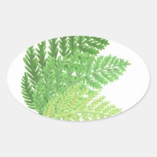 Adesivo Oval Samambaias verdes