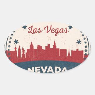 Adesivo Oval Skyline retro de Las Vegas