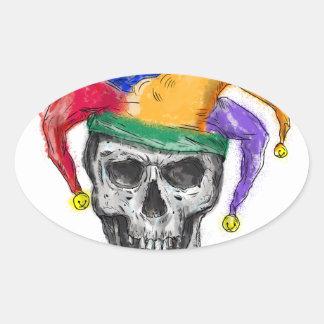 Adesivo Oval Tatuagem de riso do crânio do bobo da corte