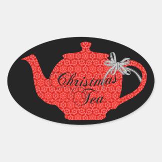 Adesivo Oval Tea party vermelho do bule do Natal do laço