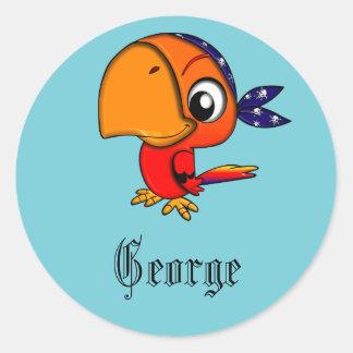 Adesivo Papagaio azul do pirata personalizado