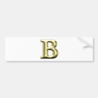 Adesivo Para Carro Alfabeto brilhante dourado da letra B