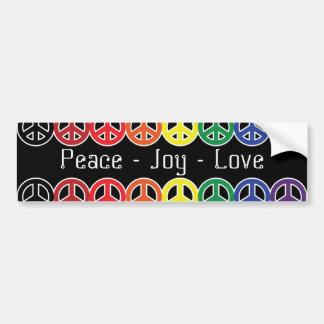 Adesivo Para Carro Arco-íris do sinal de paz no amor preto da alegria