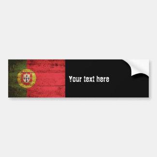 Adesivo Para Carro Bandeira de Portugal na grão de madeira velha