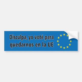 Adesivo Para Carro Disculpa, la UE do en dos quedarnos de para do