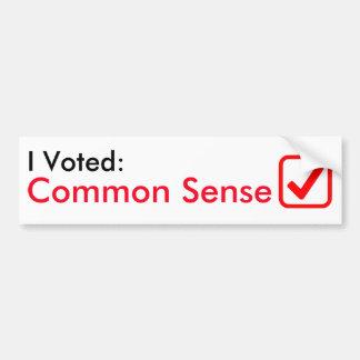 Adesivo Para Carro Eu votei o senso comum! Autocolante no vidro