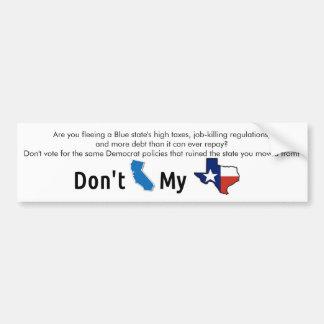 """Adesivo Para Carro """"Faz não o estado azul meu Texas """""""