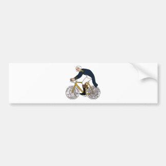 Adesivo Para Carro George Washington na bicicleta com rodas de um