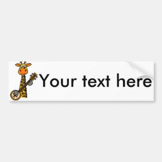 Adesivo Para Carro Girafa engraçado que joga a arte do banjo