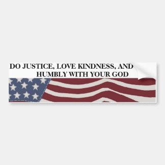 Adesivo Para Carro Justiça, bondade, e humildade