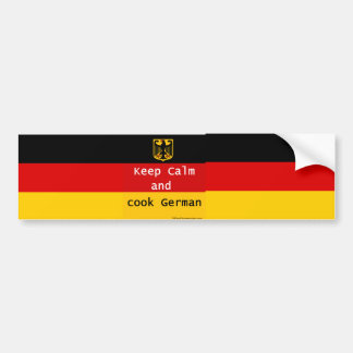 Adesivo Para Carro Mantenha a calma e cozinhe o alemão Bumpersticker
