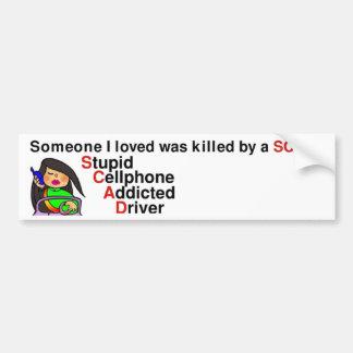Adesivo Para Carro Motorista viciado do telemóvel estúpido