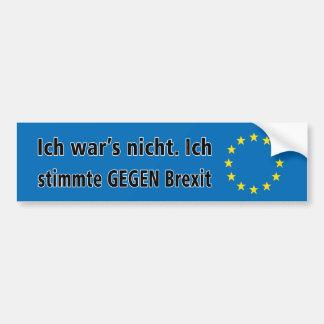 Adesivo Para Carro O nicht da guerra de Ich. Stimmte GEGEN Brexit de