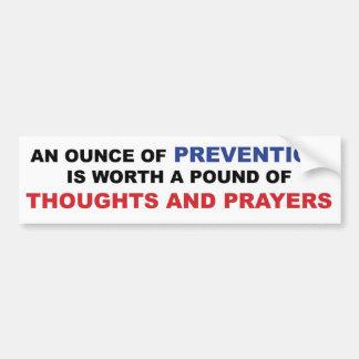 Adesivo Para Carro Pensamentos e orações: Uma onça da prevenção