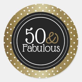 Adesivo Preto à moda e ouro 50 e fabuloso