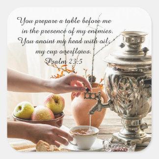 Adesivo Quadrado 23:5 do salmo você prepara uma mesa antes de mim,
