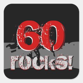 Adesivo Quadrado 60th aniversário - 60 rochas! Grunge vermelho e