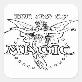 Adesivo Quadrado a arte de preto e branco mágico