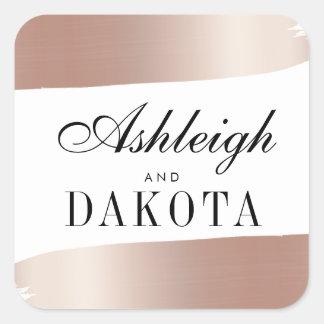 Adesivo Quadrado A escova branca & cor-de-rosa minimalista do ouro