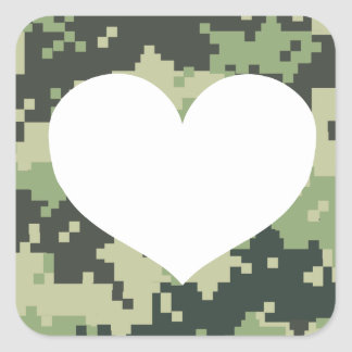 Adesivo Quadrado Adicione seu próprio coração de Camo da foto
